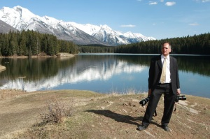 Pic of Dave Chidley covering recent wedding in Banff National Park.