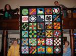 Wow.  Women of Wardsville commemorate Mr and Mrs George Ward by stitching a beautiful fabric quilt.
